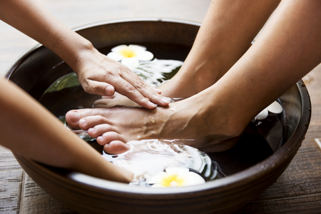 Closeup of a foot spa