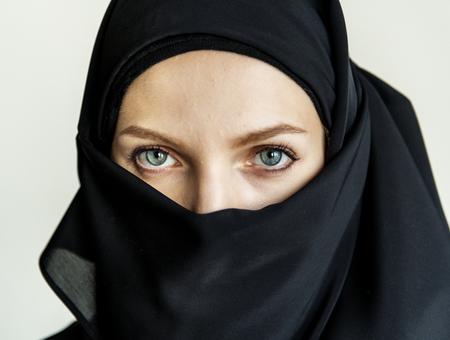 Close-up of beautiful muslim woman in hijab