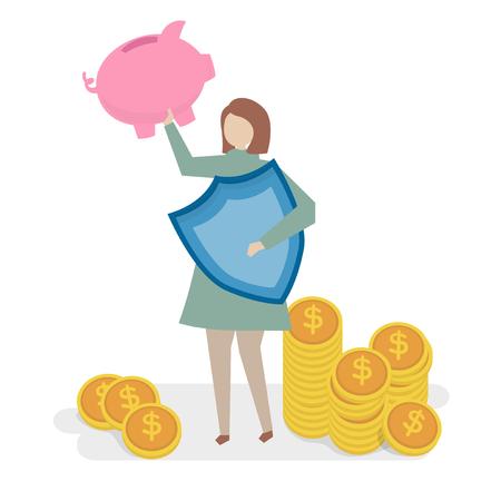 Illustration of financial insurance concept Stockfoto