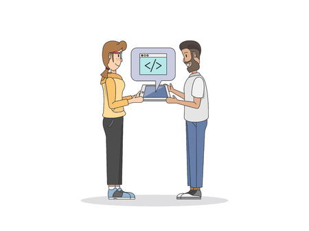Illustration of two programmers Stock Illustration - 98629828