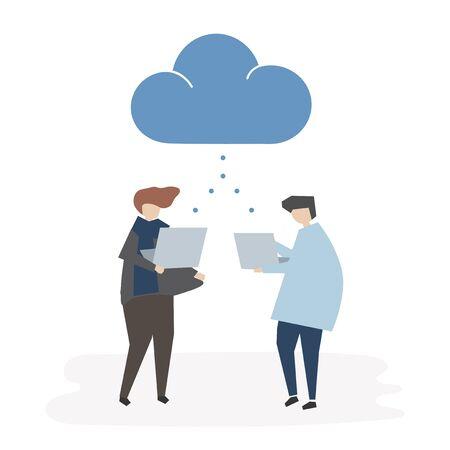 Cloud connection avatar illustration
