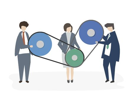 Illustrated corporate business people Stock Photo