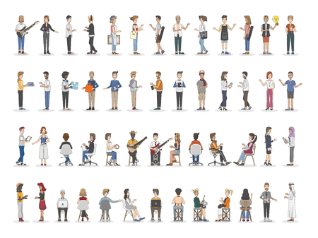 Collection of diverse illustrated people Stock Photo