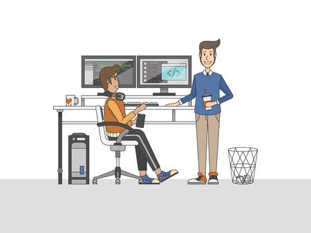 책상에서 프로그래머의 그림