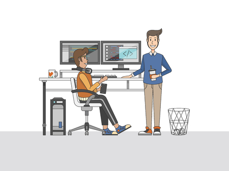 Illustration of programmers at a desk