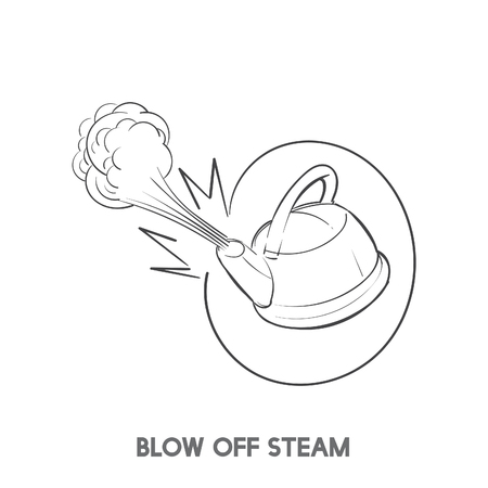 Blow off steam idiom vector Stock Photo