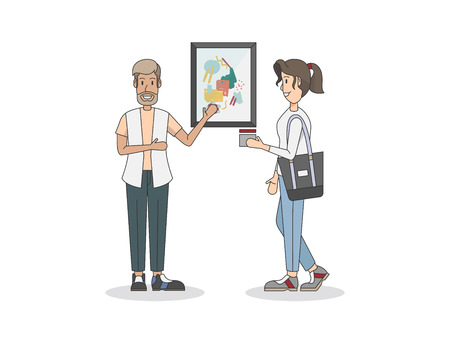 Art exhibition artist and a customer Stock Photo - 98632500