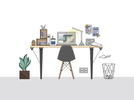 Home office workspace illustration Stock fotó