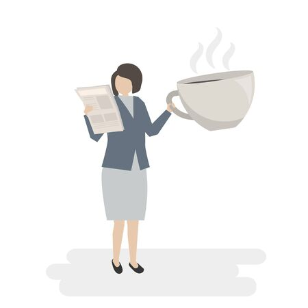 Illustrated businesswoman with coffee