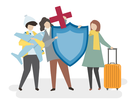 Illustration of people with travel insurance Stock Illustration - 98665494