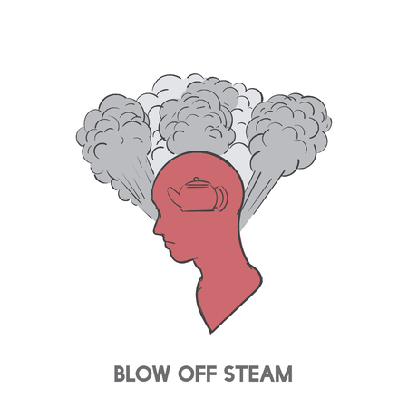 Blow off steam idiom vector 版權商用圖片