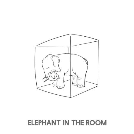 部屋のイディオムベクトルの象