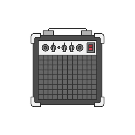 Bass or guitar amplifier illustration isolated on white Stock Illustration - 98665735