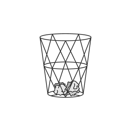 Illustration of paper bin or garbage can