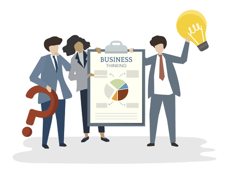 Illustration of people avatar business plan concept 스톡 콘텐츠
