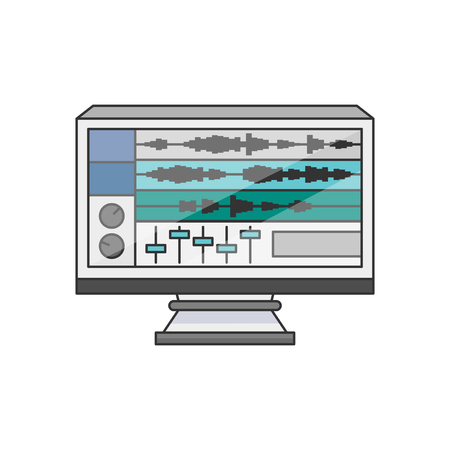 Illustration of a monitor with software on the desktop