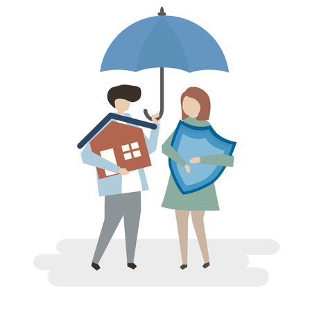 Illustration of home insurance protection Imagens