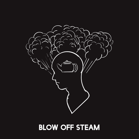 Blow off steam idiom vector 写真素材