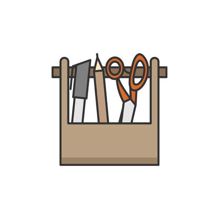 Stationery scissors, marker and pencil illustration