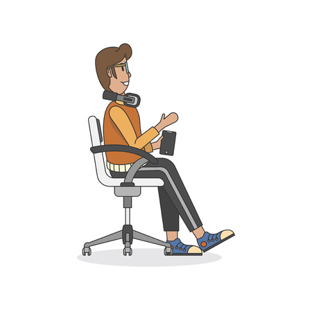Illustration of a man sitting in a chair