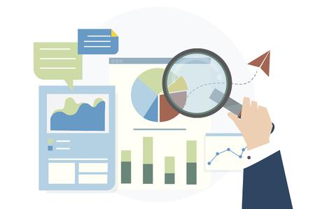 Illustration of business graph analysis Stok Fotoğraf - 98707760