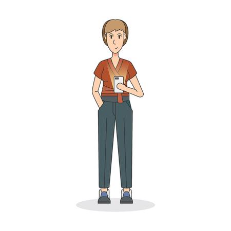 Illustration einer Frau , die ein Telefon hält Standard-Bild - 98708045
