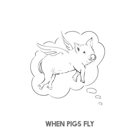 豚がイディオムを飛ぶとき 写真素材