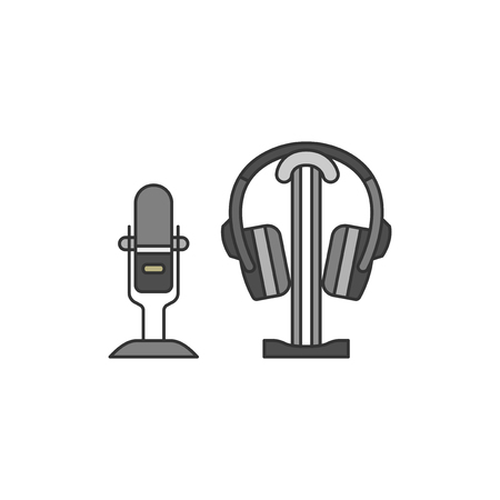 Microphone and a headphone set illustration