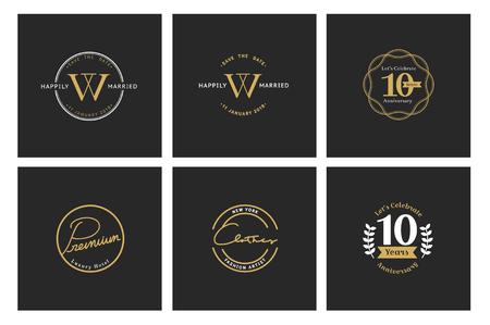 Illustration of business shop logo stamp banner 스톡 콘텐츠