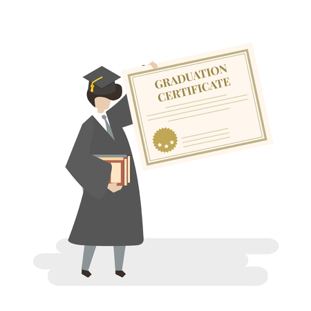 Illustration of graduation certificate