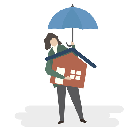 Illustration of home insurance protection Stock Photo