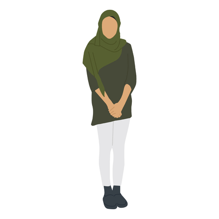 Illustrated islamic woman covered with hijab 스톡 콘텐츠