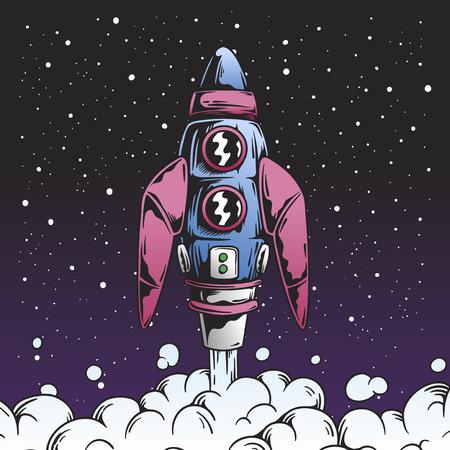 Retro rocket launch in space illustration Imagens