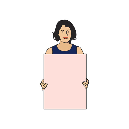 Illustrated woman holding blank paper