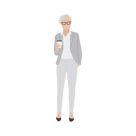 Illustrated business woman with hot coffee