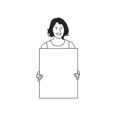 Mujer ilustrada que sostiene el papel en blanco Foto de archivo - 98750718