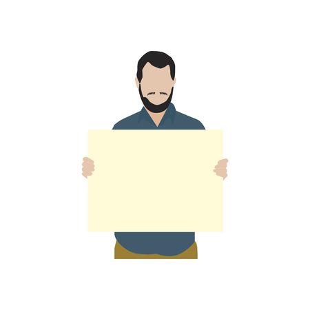 Illustrated bearded man holdin blank paper