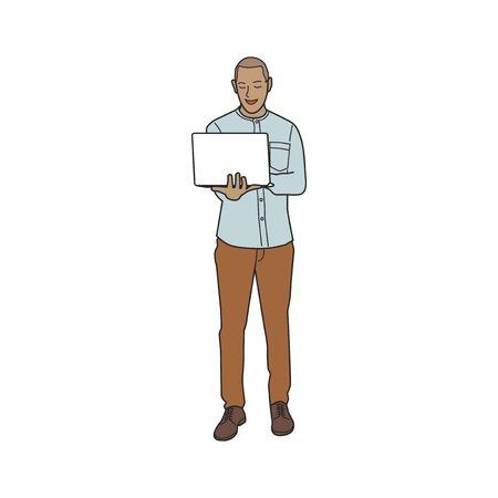Illustrated mature man using laptop Stock Photo