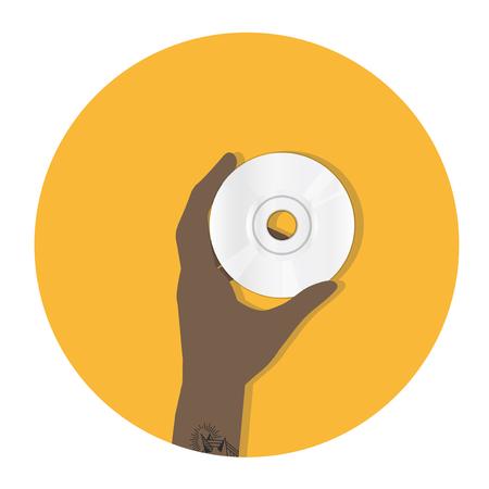 Illustration of hand holding a CD Imagens