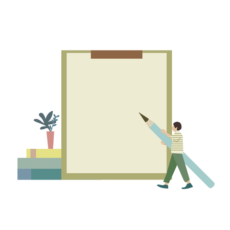 Illustrated man with blank paper clipboard Stock fotó