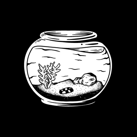 Empty aquarium with plants and no fish illustration Imagens