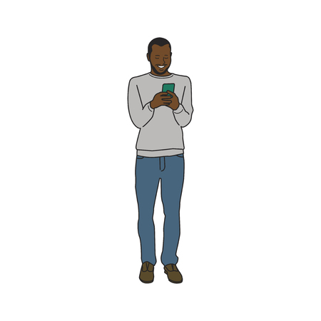Illustrated black man using mobile phone Stockfoto