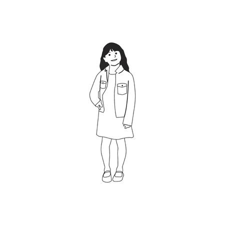 Illustrated little girl standing alone Фото со стока