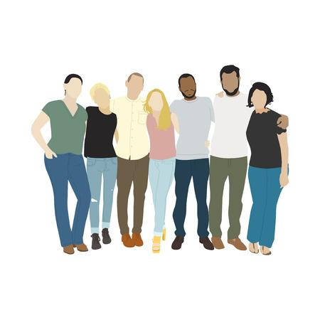 Illustrazione di diverse persone braccia intorno a vicenda Archivio Fotografico - 98823767