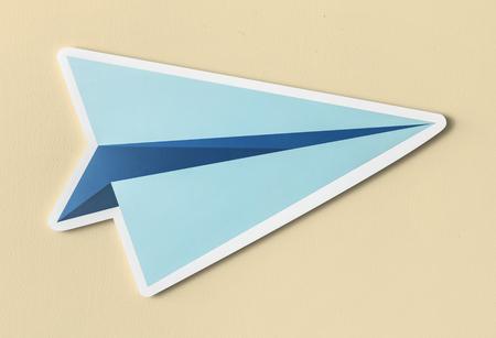 Launching paper plane cut out icon Archivio Fotografico - 99602712
