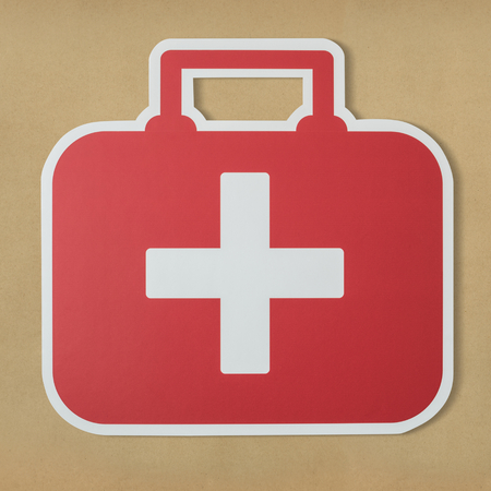 First aid bag paper craft icon Stock Photo