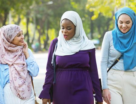 Group of muslim women outdoors Stock Photo