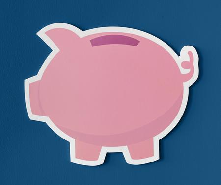 Roze spaarvarken spaarpictogram