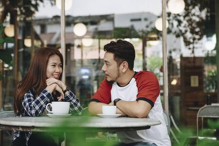 Couple enjoying a hot drink