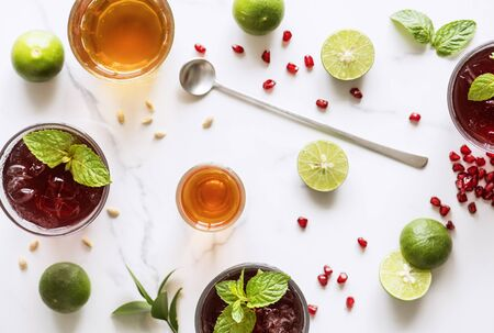 Aerial view of homemade summer drinks